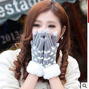 WWF Winter Warme Handschuhe Mode Persönlichkeit Liebe Damen Haar Fünf Finger Handschuhe Können Handy Touch Handschuhe Spielen,grau,Einheitsgröße