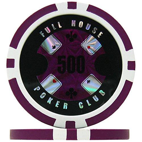 Premier Poker Chips UK Full House Poker Club Poker Chips - Purple 500 (Roll of 25), 14g Clay Composite