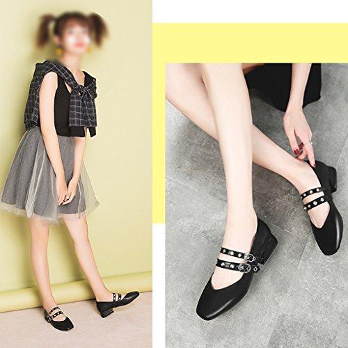 406454f4b4b ... Hwf Femmes Chaussures Printemps Rétro Femmes Chaussures Plat Bouche Peu  Profonde Chaussures Simples Tête Carrée Art ...