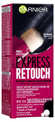 Garnier Express Retouch Sofort Ansatz-Kaschierer in Schwarz, deckt graue Haaransätze präzise ab, mit Schwamm-Applikator, 10 ml