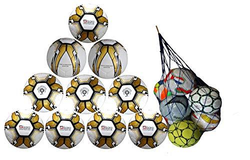 Lisaro 10 Fussbälle/Ballpaket Trainingsball Gr. 5 weiß/Gold