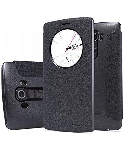 Nillkin Sparkle - Carcasa tipo funda protectora antideslizante con ventana inteligente s-view para LG G4 - Negro