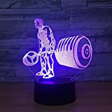 3D Illusion Lampe Weihnachtsgeschenk Nachtlicht Nachttischlampe Hantel heben 7 Farben Touch-Schalter...