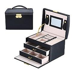 Idea Regalo - Portagioie Scatole per Gioielli Porta Gioielli Beauty Case Salvaspazio Scatola Custodia Box Scatola con Specchio Scatola anello (Nero)