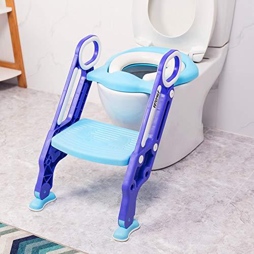 Riduttore WC Bambini VETOMILE Sedia da Toilette Vasino con Cuscino Morbido,Sedile per Toilette con Scaletta Regolabile, Antiscivolo,Pieghevole,per Toilette a O V U (Blu)