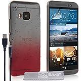 YouSave Accessories HT-DA03-Z863U Coque avec câble micro USB pour HTC One M9 Motif Goutte de pluie Rouge