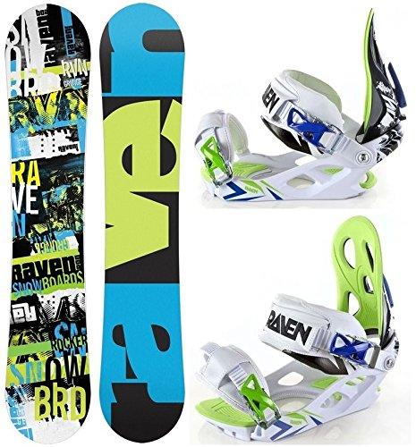 Snowboard Set: Snowboard Raven Grunge Green Rocker Lunghezza: 161cm + Attacchi Raven Ghost L - All Mountain Snowboard Attacchi