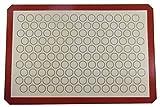 IKOCO Tappetino da forno in silicone per macarons, completo lenzuolo Size 60 x 40cm Caffè riutilizzabile, antiaderente, per cucina, Tappetino, biscotti, Pizza Dough