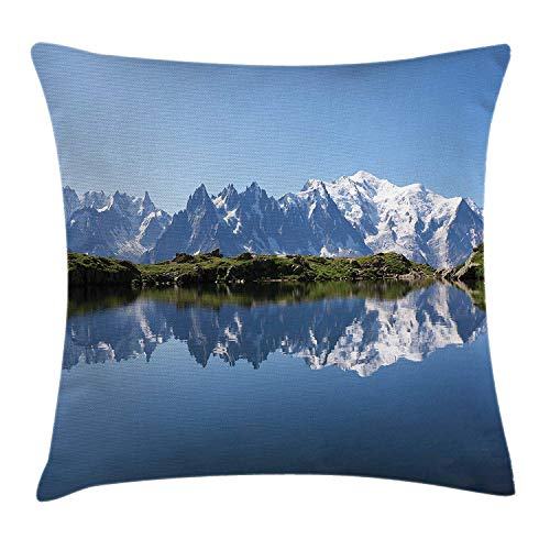 XIAOYI Lake Throw Pillow Cushion Cover, Mont Blanc Mountain Range Reflected in Cheserys Lake Alps France Panorama, Decorative Square Accent Pillow Case, 18 X 18 inches, Pale Blue White Green -