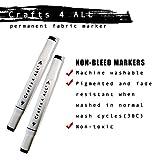 Crafts 4All, pennarello indelebile per tessuti, non sbiadisce, doppia punta, nero, 2pezzi