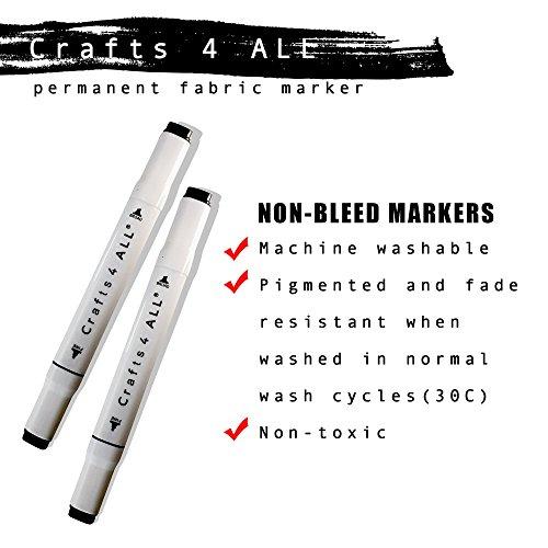 Crafts 4All Permanentmarker für Stoff/Wäsche, kein Verschmieren, Doppelspitze, schwarz, 2Stück