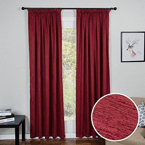 Top Finel Blickdichte Gardinen Mit Kräuselband Vorhänge für Schlafzimmer,1 stück, 228cm x 228cm(W x H), Burgund