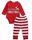 Chickwin 3Pcs'My First Christmas' Santa vêtements ensemble Toddler nouveau-né nourrisson bébé garçon fille Deer Romper Tops + pantalons + Hat Outfits (Rayée rouge de renne, 100 (12-18 mois))