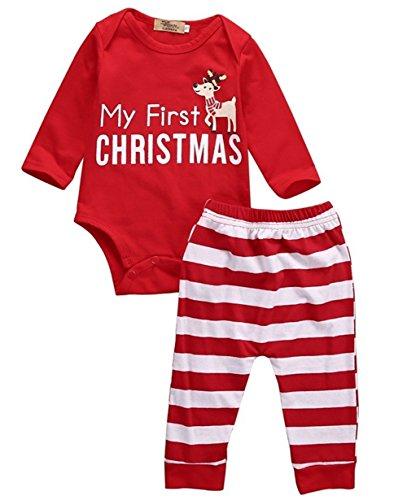 eugeborenes Baby Mädchen Jungen Warm My First Christmas Strampler Tops + Stripe Leggings (Rote Elch streifen, 90 (6-12 Monate)) (Baby Yoda Kostüm 6-12 Monate)