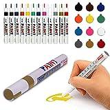 12 colores marcador de pintura a base de aceite fino arte pintura impermeable para coche neumatico goma pluma de metal vidrio