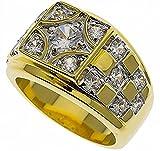 ISADY - Youri - Herren-Ring - 585er 14K Gold platiert - Zirkonium Transparent Schachbrett Design - T 62 (19.7)