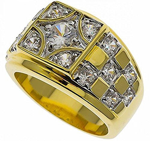 ISADY - Youri - Herren-Ring - 585er 14K Gold platiert - Zirkonium Transparent Schachbrett Design - T 57 (18.1)