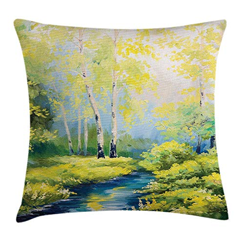 94834912f ZKHTO Country Throw Pillow Cushion Cover, Pastoral Paint of a Forest in The  Spring Time
