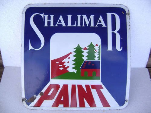 Indian Handicrafts Export Vintage Porcelain/Enamel Sign - Shalimar Paint ADV EHS