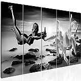 murando Akustikbild schwarz-weiß 225x90 cm Bilder Hochleistungsschallabsorber Schallschutz Vlies Leinwand Akustikdämmung 5 TLG Wandbild Raumakustik Schalldämmung - Abstrakt h-C-0062-b-m