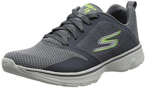 Skechers Go Walk 4-Solar, Zapatillas para Hombre, Gris (Charcoal/Lime), 42 EU