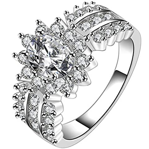 fourHeart Princess Cut Cubic Zirconia CZ Elegant Crystal Promise Wedding Engagement Band Ring 925 Sterling Silver Plating by Fourheart