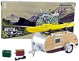 Greenlight Collectibles–Miniatur Auto Teartrop Wohnwagen mit Velo und Kanoe Maßstab 1/24, 18430A, Silber/Gelb Grün