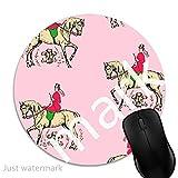 Maus-Pad Rosa Reiter Pferd Frau,7 inch rund Mouse-Pad mit rutschfester Unterlage Standard 1V95
