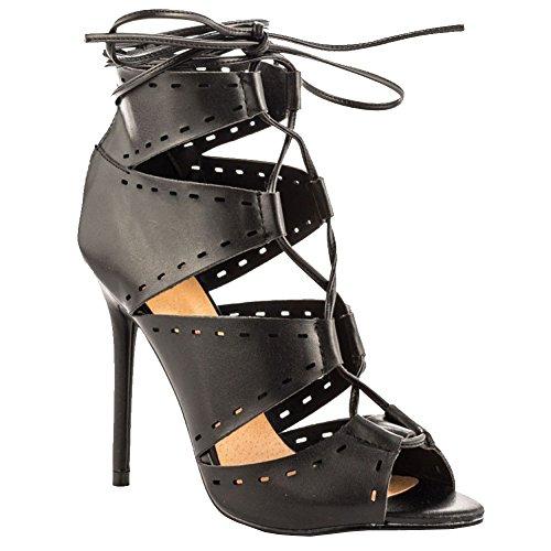Kolnoo Damen Handgemachte 11cm Absatz-Sandalen Peep-Toe Zipper Ausschnitte Mode Schuhe Black