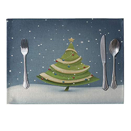 Danigrefinb Weihnachten Bell Schneemann Esstisch Leinen Isolierung Matte Tisch-Sets Küche Decor bunt, 6Stück 9# (9 Stück Runder Esstisch Set)