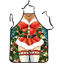 Oulii–Original delantal de cocina con dibujo de Mamá Noël sexy, ideal como regalo de Navidad para mamás, mujeres o novias