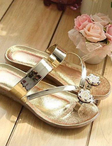 UWSZZ Die Sandalen elegante Comfort Schuhe Frau Faux Leder Tanga flache Sandalen freie Zeit formale/Casual/Silber/Gold Silver