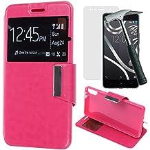 OVIphone Funda Con Tapa Libro Soporte Para BQ AQUARIS X5 + Cristal Templado (Color Rosa)