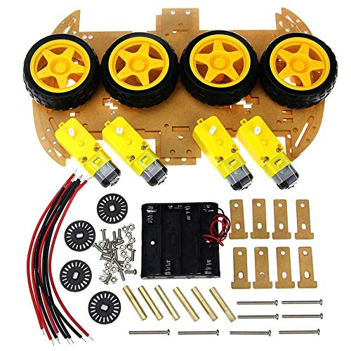 Huihuiya Smart Car Kit mit Drehzahlgeber 4WD Smart Robot Car Chassis Kits DIY Kit-Gelb