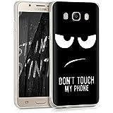 kwmobile Funda transparente para > Samsung Galaxy J5 (versión 2016) DUOS < funda protectora de silicona TPU con diseño IMD - funda blanda para móvil Diseño Don't touch my phone