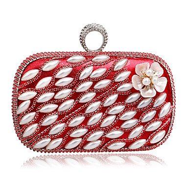 Frauen in der eleganten Luxus handgefertigten Perle Diamanten die Blume Abend Tasche Ruby