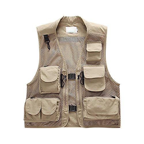semen Outdoor Weste Safari praktischen Reißverschluss Multi-Tasche Netz Breathable Camping Jagd Fischen - Entdecker Kostüm Männer