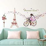 ufengke Stickers Muraux Fille Vélo Autocollant Mural Fleurs Tour Eiffel pour Chambre Enfants Salon Décoration Murale