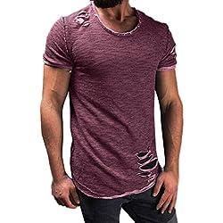 OSYARD Männer Mode Bluse mit Loch,Herren Hemd für Freizeit Business Party Shirt Poloshirts Rundhals T-Shirts mit Kurzarm, Pullover Tees Basic Oversize Slim Fit in Viel