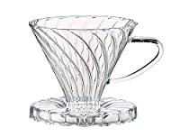 Harold Import Company HIC Pour-Over Coffee Filter Cone Borosilicate Glass Number 2-Size Filter, Clear