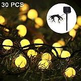 Solar Lichterkette, Nasharia 30er LED Solar Lichterkette 8 Modi IP65 Wasserdicht Garten Lichterkette Dekoration Beleuchtung Kugel für Außen, Indoor Gärten, Rasen, Weihnachten Party - 6.5M, Warmweiß