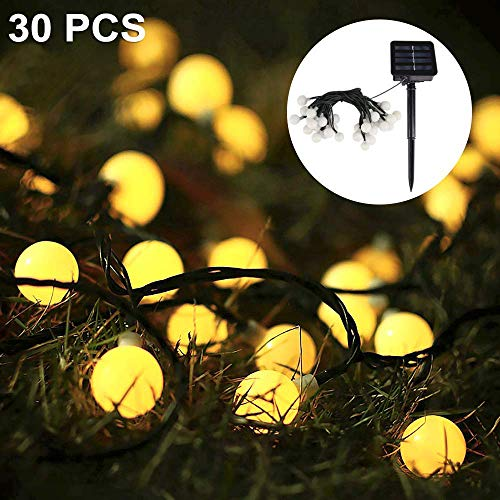 Solar Lichterkette, Nasharia 30er LED Solar Lichterkette 8 Modi IP65 Wasserdicht Garten Lichterkette Dekoration Beleuchtung Kugel für Außen, Indoor...