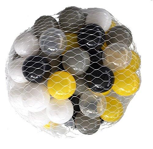 250 Bälle für Bällebad mix gelb gemischt mit grau, schwarz, weiß und transparent