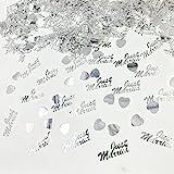 JZK 4 Pack Kunststoff Just Married Herz Silber Hochzeit Streudeko Konfetti Werfen Konfetti Tischdeko Confetti - 5