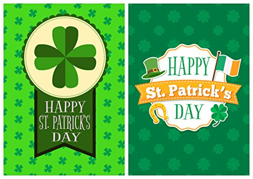 Patricks Day Greeting Cards /& Envelopes 4 Designs by Greetingles. 12 St
