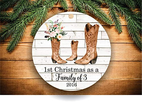 Dozili Family of Christmas Ornament Family of Three Family of Ornament New Mom, Geschenk für neuen Vater, Geschenk