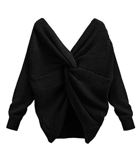 Perlen V-ausschnitt Bluse (YOUJIA Damen Sweater Backless Cross Wrap V-Ausschnitt Strickpullover Jumper Bluse Top (Schwarz))