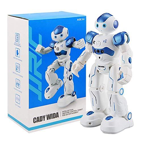 Siebwinn Roboter Kinder Spielzeug, JJRC R2 Intelligente Roboter Spielzeug RC Control Geste Sensor Action Display Singen Tanzen USB Lade Kinder Geburtstagsgeschenk (Blau)