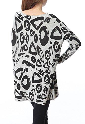ELLAZHU Femme Pull Robe Tricot Lâche Imprimé Barbouillage Taille Unique SZ39 Gris