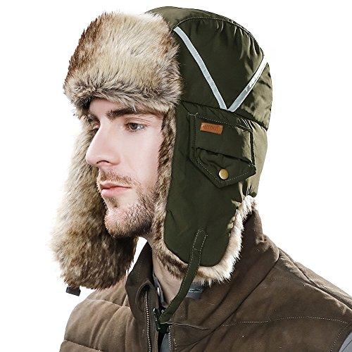 59af9750f35 Faux Fur Trapper Hat Aviator Earflap Hat Winter Pilot Soviet Russian Ushanka  Hat Waterproof Mask Men